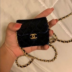 Chanel mini velvet navy blue bag